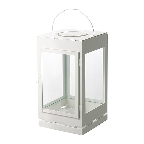 LANTSTÄLLE Lantern for block candle, white Height: 38 cm