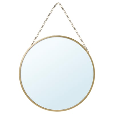 LASSBYN Mirror, gold-colour, 25 cm