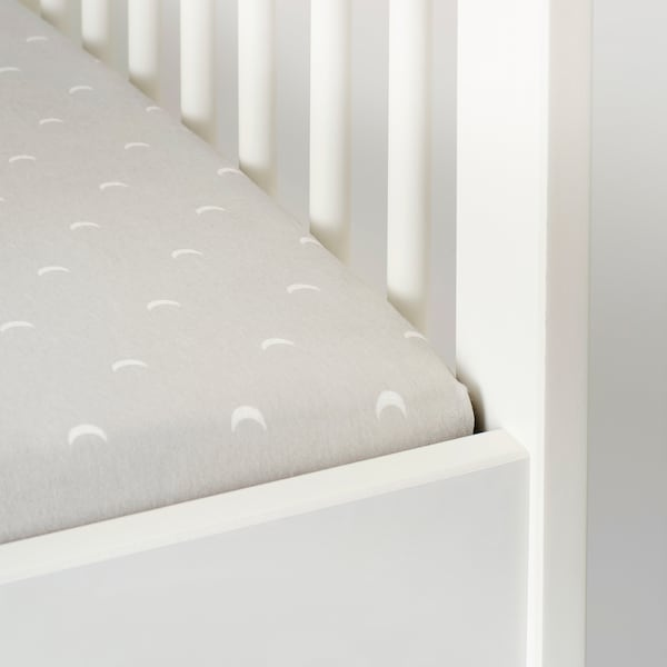 LENAST Fitted sheet for cot, dotted/moon, 70x132 cm