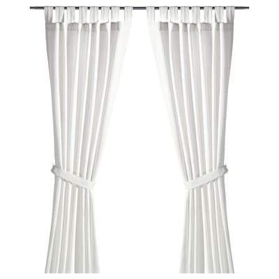 LENDA Curtains with tie-backs, 1 pair, white, 140x250 cm