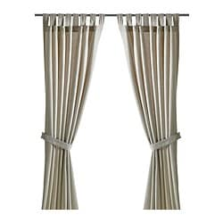 LENDA curtains with tie-backs, 1 pair, light beige