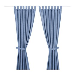 LENDA curtains with tie-backs, 1 pair, bright blue
