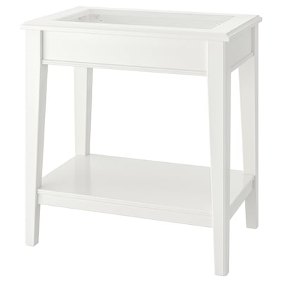 LIATORP Side table, white/glass, 57x40 cm