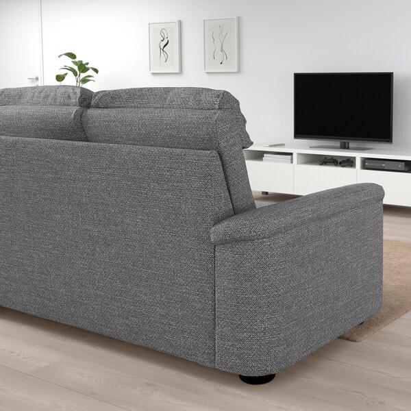 LIDHULT Corner sofa, 5-seat, with open end/Lejde grey/black