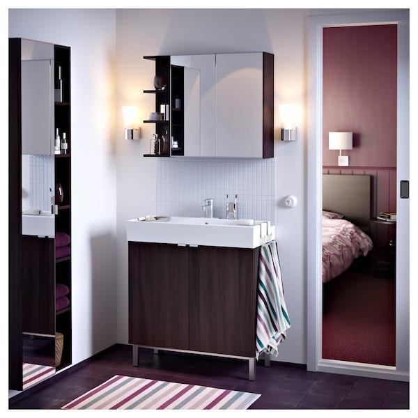 LILLÅNGEN Mirror cabinet 2 doors/1 end unit, black-brown, 79x21x64 cm