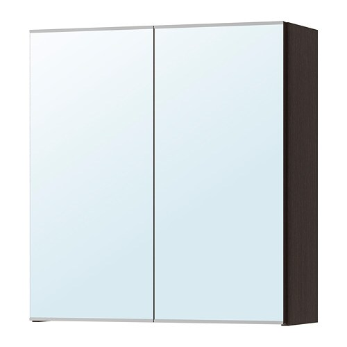 ikea bathroom cabinets with wall mirror | LILLÅNGEN Mirror cabinet with 2 doors - black-brown - IKEA