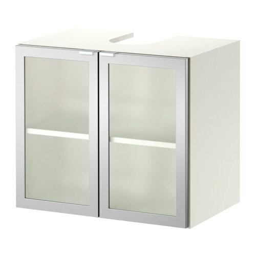 LILLÅNGEN Wash-basin base cabinet w 2 doors - white/aluminium - IKEA