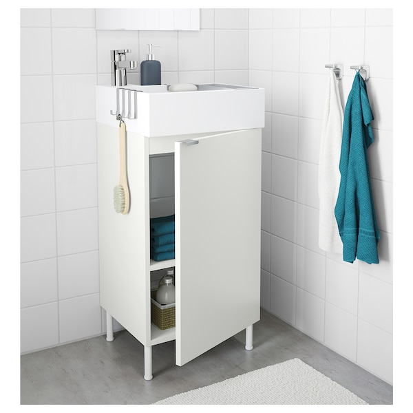 LILLÅNGEN Washbasin cabinet with 1 door, white/Ensen tap, 41x41x87 cm