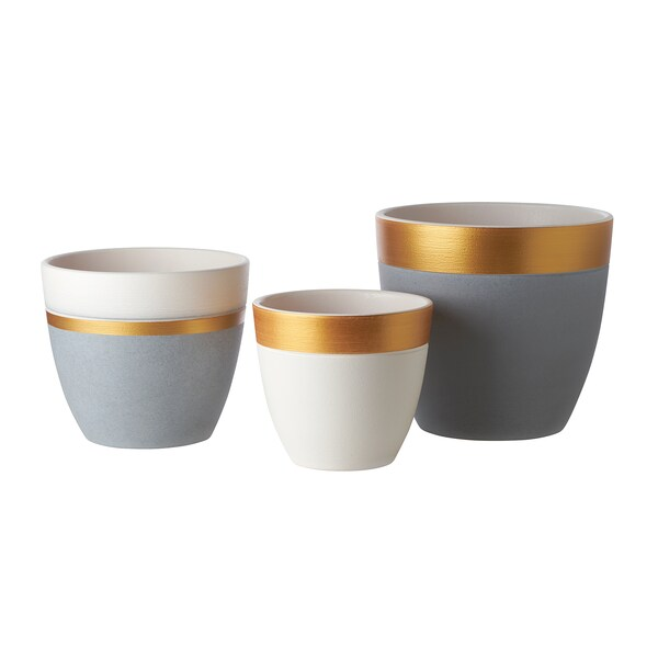 LIMEPEPPAR Plant pot, white/gold-colour stripe, 12 cm