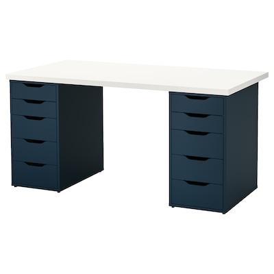 LINNMON / ALEX Table, white/blue, 150x75 cm