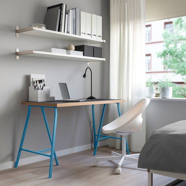 LINNMON / LERBERG table black plywood/blue 120 cm 60 cm 74 cm 50 kg