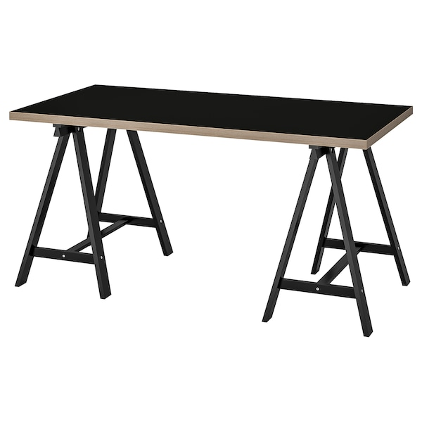LINNMON / ODDVALD table black plywood/black 150 cm 75 cm 73 cm 50 kg