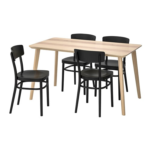Excellent Lisabo Idolf Table And 4 Chairs Ash Veneer Black Download Free Architecture Designs Rallybritishbridgeorg