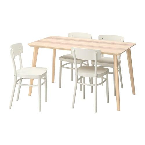 Marvelous Lisabo Idolf Table And 4 Chairs Ash Veneer White Download Free Architecture Designs Rallybritishbridgeorg