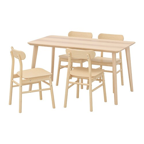Pleasing Lisabo Ronninge Table And 4 Chairs Ash Veneer Birch Download Free Architecture Designs Rallybritishbridgeorg