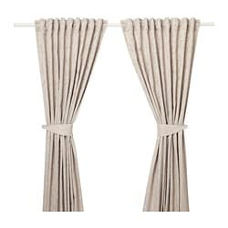 LISABRITT curtains with tie-backs, 1 pair, beige