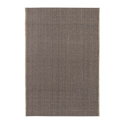 LISBJERG rug, flatwoven, black/natural colour unbleached
