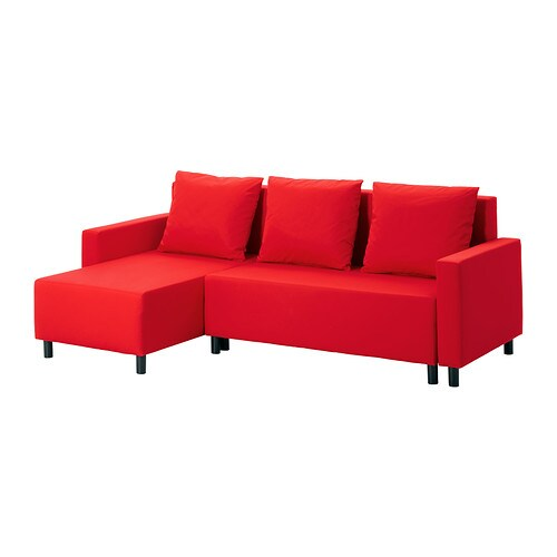 Lugnvik sofa bed with chaise longue gran n red ikea for Chaise longue double sofa bed