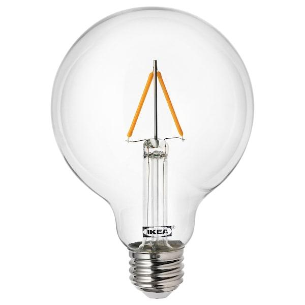 LUNNOM LED bulb E27 100 lumen, globe clear, 95 mm