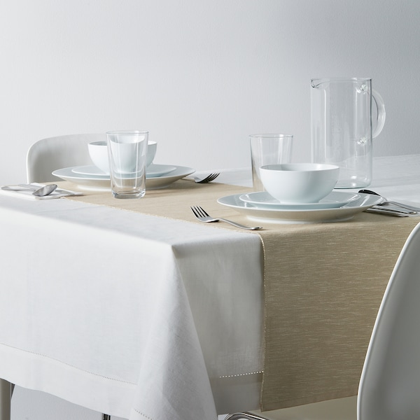 MÄRIT Table-runner, beige, 35x130 cm