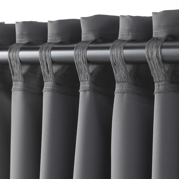 MAJGULL block-out curtains, 1 pair grey 250 cm 145 cm 2.00 kg 3.63 m² 2 pack