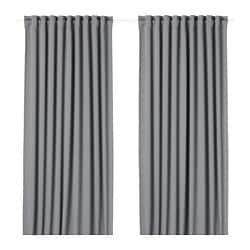 MAJGULL block-out curtains, 1 pair, grey
