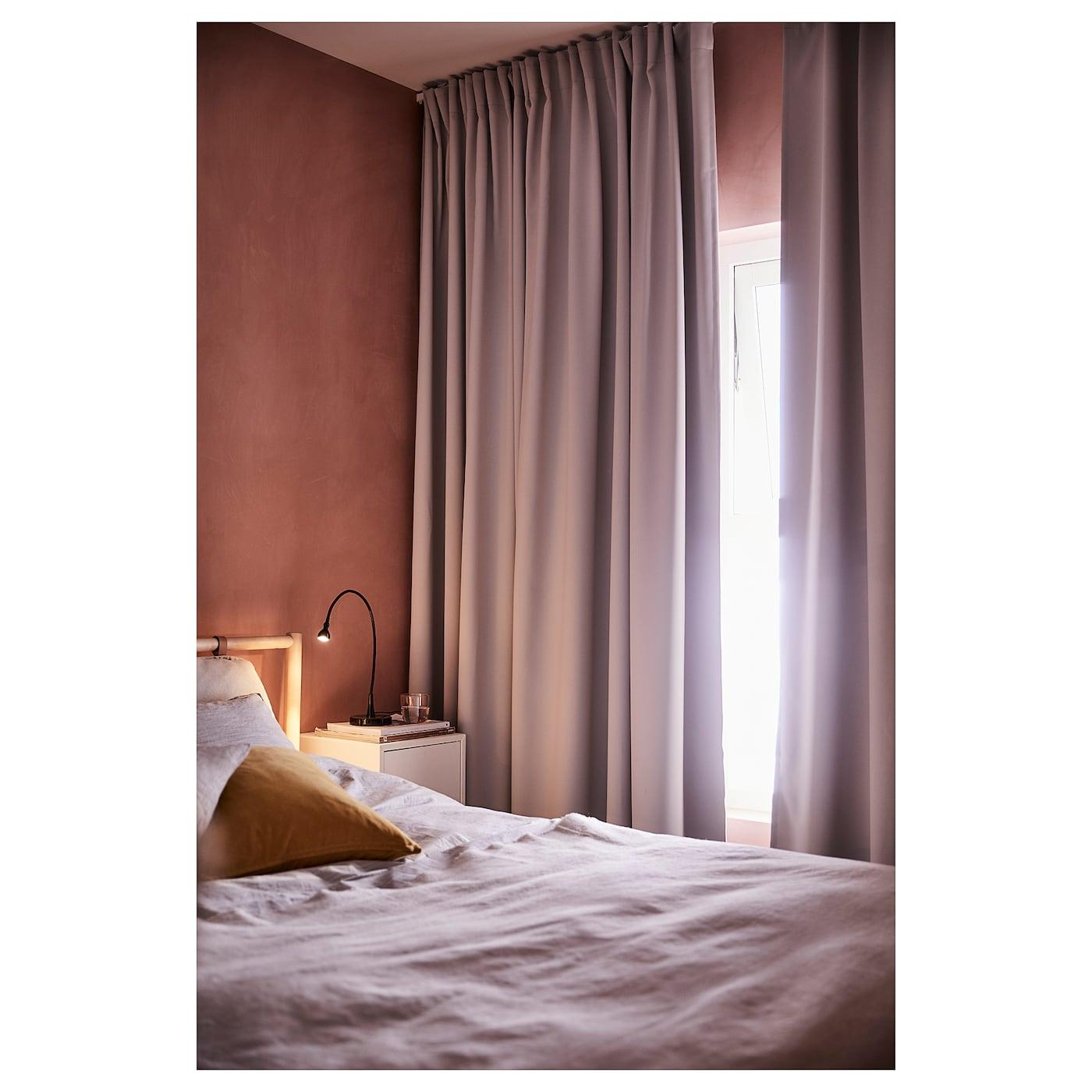 Majgull Room Darkening Curtains 1 Pair Light Grey 145x250 Cm Ikea