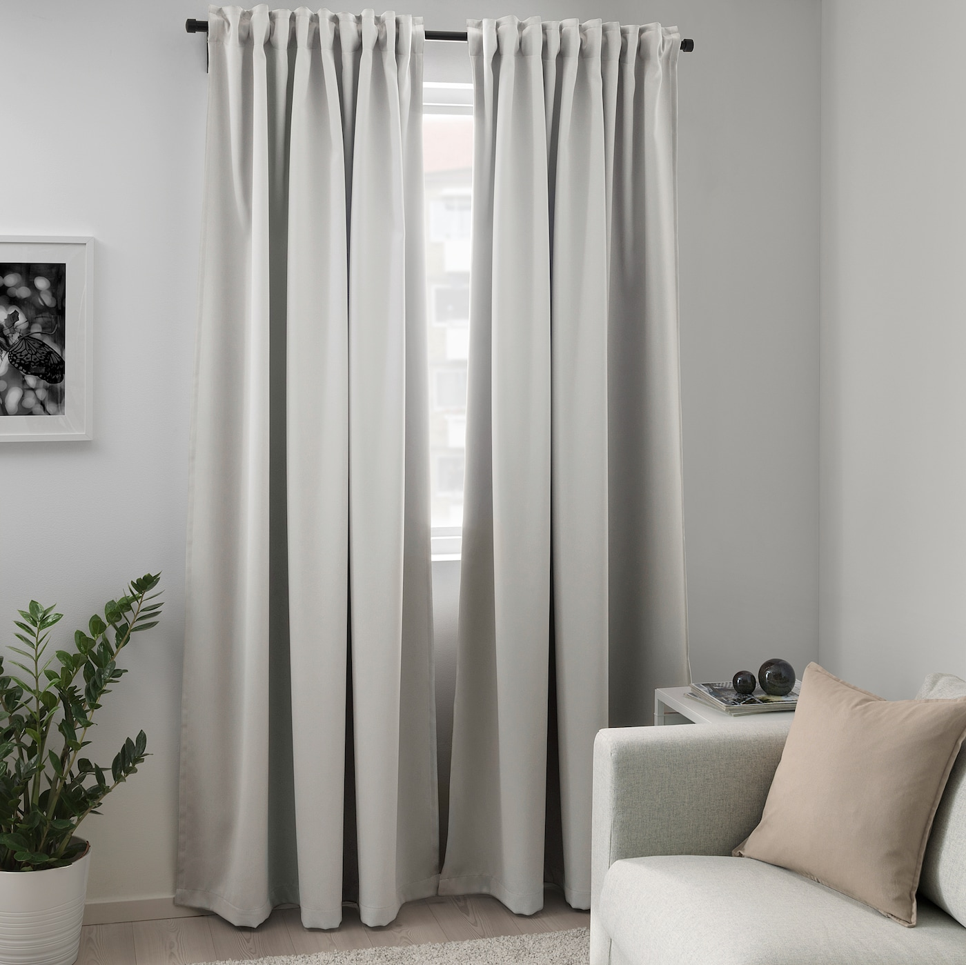 MAJGULL room darkening curtains, 1 pair light grey 250 cm 145 cm 2.00 kg 3.63 m² 2 pack