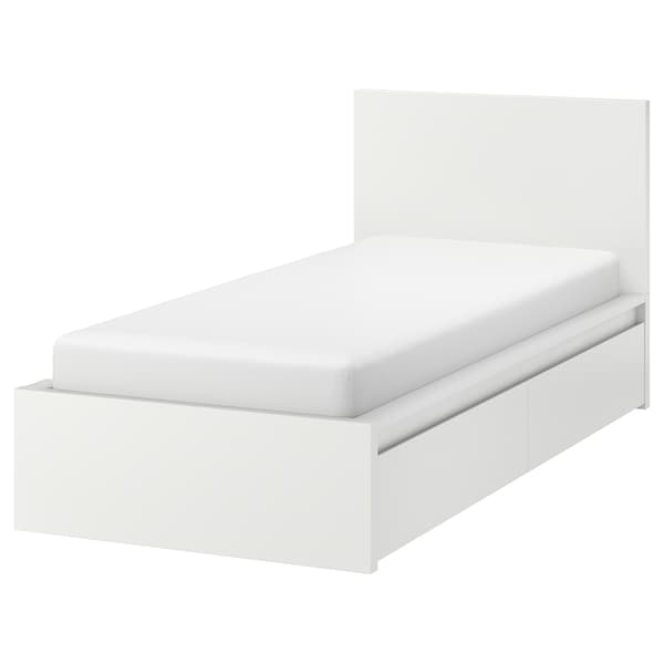 MALM Bed frame, high, w 2 storage boxes, white/Luröy, Single