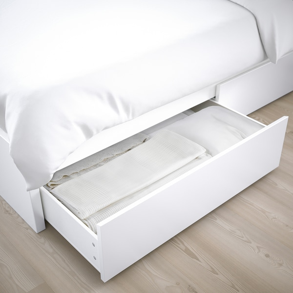 MALM Bed frame, high, w 2 storage boxes, white/Luröy, Queen