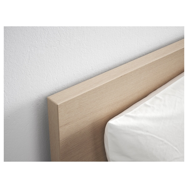 MALM Bed frame, high, w 4 storage boxes, white stained oak veneer/Luröy, Queen