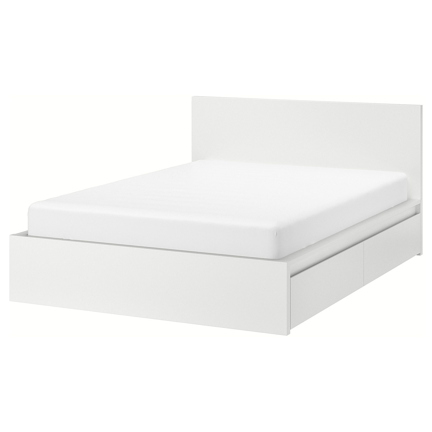 Picture of: Malm Bed Frame High W 4 Storage Boxes White Double Ikea