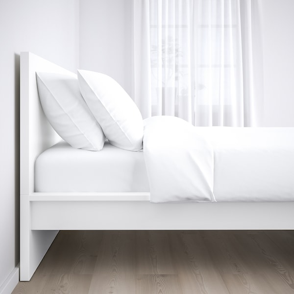 MALM Bed frame, high, white/Luröy, Queen