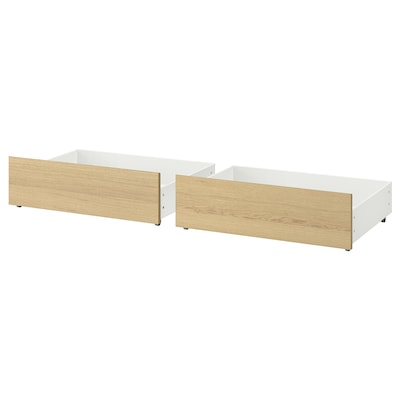 MALM Bed storage box for high bed frame, white stained oak veneer, Queen/King