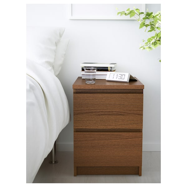 MALM Chest of 2 drawers, brown stained ash veneer, 40x55 cm