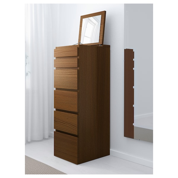 MALM Chest of 6 drawers, brown stained ash veneer/mirror glass, 40x123 cm