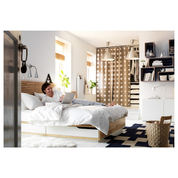 MANDAL Bed frame with headboard, birch/white, 160x202 cm