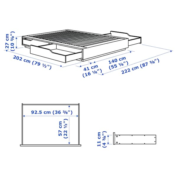 MANDAL bed frame with storage birch/white 202 cm 140 cm 27 cm