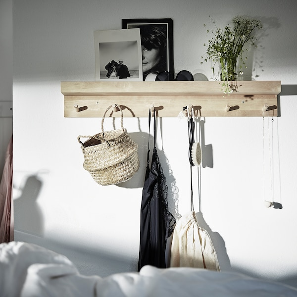 MÅNSARP Display shelf with hooks, birch, 80 cm