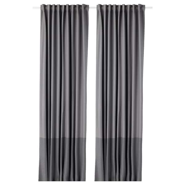 MARJUN Block-out curtains, 1 pair, grey, 145x250 cm