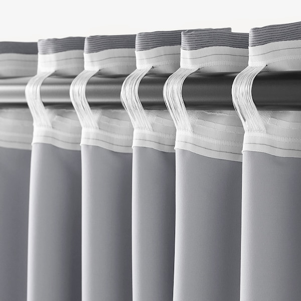 MARJUN Room darkening curtains, 1 pair, grey, 145x250 cm