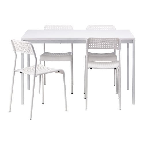 MELLTORP / ADDE Table and 4 chairs IKEA The melamine table top is moisture resistant, stain resistant and easy to keep clean.  Seats 4.