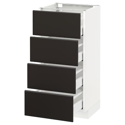 METOD base cab 4 frnts/4 drawers white Maximera/Kungsbacka anthracite 40.0 cm 38.8 cm 37.0 cm 80.0 cm
