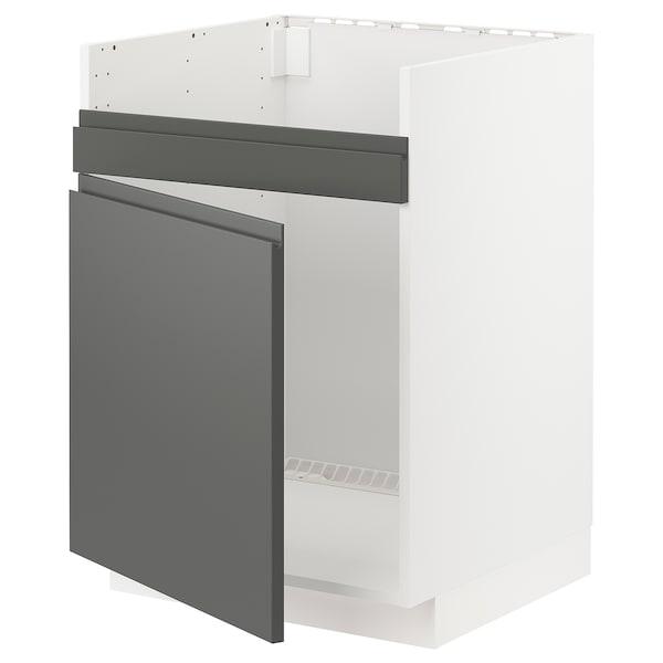 METOD Base cab f HAVSEN single bowl sink, white/Voxtorp dark grey, 60x60x80 cm