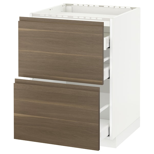METOD base cab f hob/2 fronts/3 drawers white Maximera/Voxtorp walnut 60.0 cm 62.1 cm 88.0 cm 60.0 cm 80.0 cm