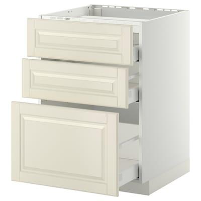 METOD base cab f hob/3 fronts/3 drawers white Maximera/Bodbyn off-white 60.0 cm 61.9 cm 60.0 cm 80.0 cm