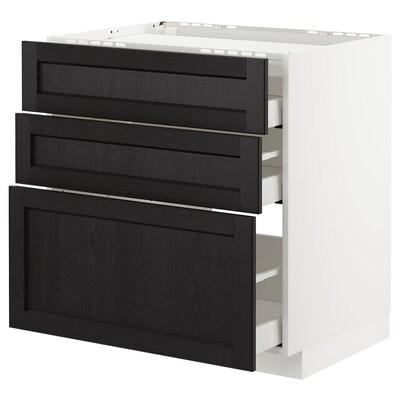 METOD base cab f hob/3 fronts/3 drawers white Maximera/Lerhyttan black stained 80.0 cm 61.9 cm 60.0 cm 80.0 cm