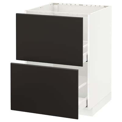 METOD Base cab f sink+2 fronts/2 drawers, white Maximera/Kungsbacka anthracite, 60x60x80 cm
