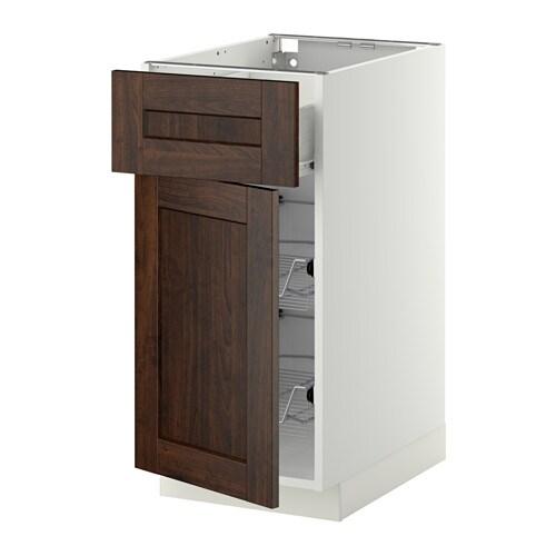 Metod base cab w wire basket drawer door white f for Ikea basket drawers