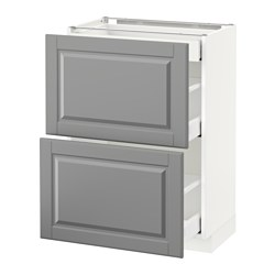 METOD base cab with 2 fronts/3 drawers, white Maximera, Bodbyn grey